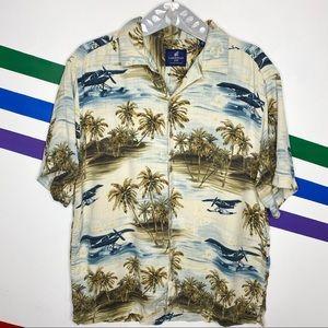 Caribbean Joe silk Hawaiian button up shirt